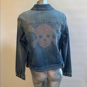 I.N.C. Size large Crystal Skull Jean Jacket NWOT